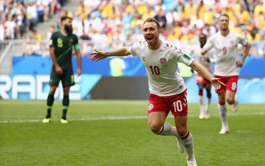 悍将送点埃里克森破门 丹麦1-1澳大利亚
