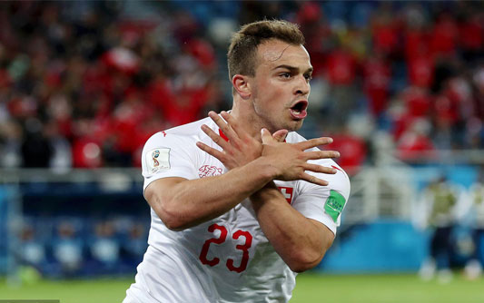 扎卡世界波沙奇里绝杀 瑞士2-1逆转塞尔维亚