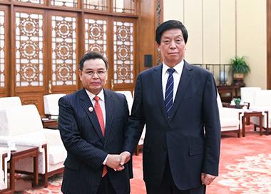 栗战书会见老挝建国阵线中央主席